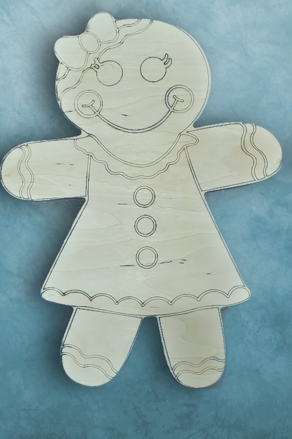 Gingerbread girl with bow